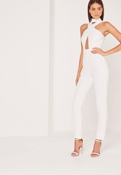 Missguided Crepe Cross Front Choker Jumpsuit White White