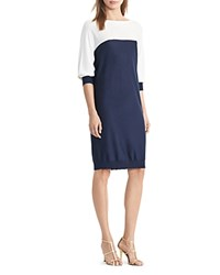 Ralph Lauren Boat Neck Color Block Sweater Dress Navy Ivory