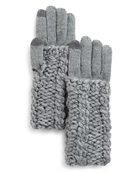 Rebecca Minkoff Cable Knit Tech Gloves Light Heather Gray