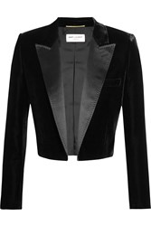 Saint Laurent Cropped Satin Trimmed Velvet Blazer Black