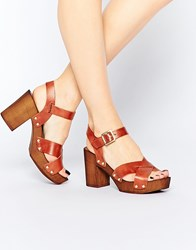 Asos Tilly Leather Heeled Sandals Tan