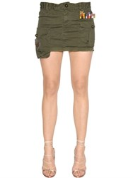 Dsquared Military Cotton Canvas Mini Skirt