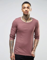 Asos Rib Extreme Muscle Long Sleeve T Shirt With Scoop Neck In Brown Brown