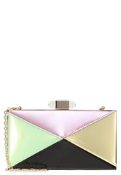 Glamorous Clutch Green Pink Diamond Multicoloured