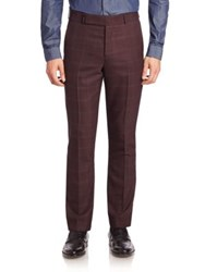 Paul Smith Grid Patterned Pants Burgundy