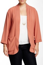 Bobeau Crepe Soft Jacket Plus Size Pink