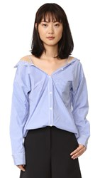 Theory Tamalee Blouse Blue White