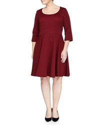 Melissa Masse Geometric Jacquard Fit And Flare Dress Marsala