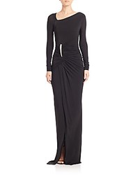Donna Karan Twist Front Long Sleeve Jersey Gown Lacquer