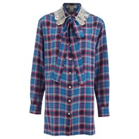 Marc Jacobs Women's Oversized Button Up Collar Embelished Shirt Blue Red