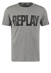 Replay Print Tshirt Dark Grey Melange Dark Gray