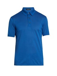 Ermenegildo Zegna Short Sleeved Cotton Polo Shirt Blue