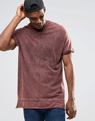 Asos Oversized Sleeveless T Shirt With Oil Wash And Hem Extender Rust White Brown