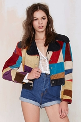 Nasty Gal Vintage Block Party Suede Jacket