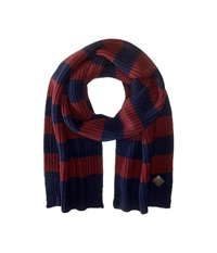 Cole Haan Striped Cardigan Stitch Muffler Blazer Blue Port Royal Scarves Red