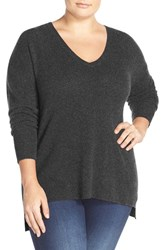 Halogenr Plus Size Women's Halogen V Neck Cashmere Sweater Heather Charcoal