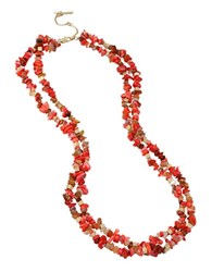 Kenneth Cole Coral Multi Row Long Necklace Red