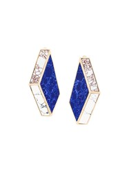 Eshvi Nino Eliava X 'Lava' Clip On Earrings Blue