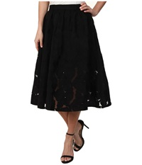 Sam Edelman Embroidered Midy Skirt Black 1 Women's Skirt
