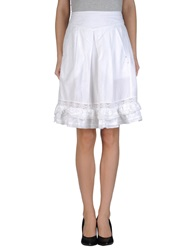 High Knee Length Skirts White