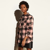Coach Stud Plaid Shirt Pink