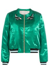 Tara Jarmon Embellished Satin Baseball Jacket Green