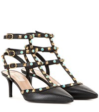 Valentino Rockstud Rolling Leather Kitten Heel Pumps Black