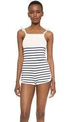 Solid And Striped Knit Romper Cream Navy Stripe