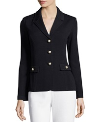 St. John Santana Embellished Three Button Blazer Black