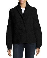 Inhabit Long Sleeve Cable Knit Cashmere Menswear Cardigan Black