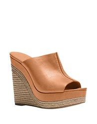 Michael Kors Charlize Leather Open Toe Wedges Natural