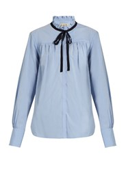 Sea Ruffle Collar Cotton Poplin Shirt Light Blue