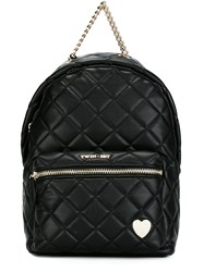 Twin Set Faux Leather Quilted Backpack Black