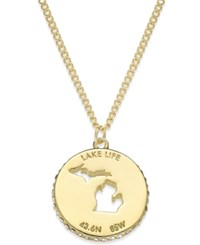 Kate Spade New York State Of Mind Gold Tone State Cutout Pendant Necklace Michigan