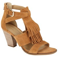 John Lewis Jinni Fringed Block Heeled Sandals Tan