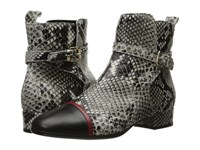 Just Cavalli Python Printed Low Heel Ankle Bootie Black