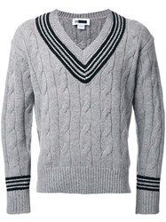 H Beauty And Youth Cable Knit V Neck Jumper Grey