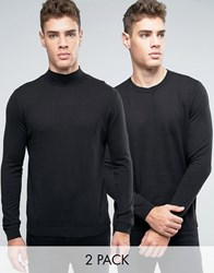 Asos Cotton Crew And Turtle Neck Jumper 2 Pack Black