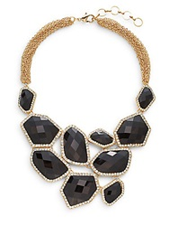 Amrita Singh Hamptons Easter Island Faceted Stone Bib Necklace Goldtone Black Gold