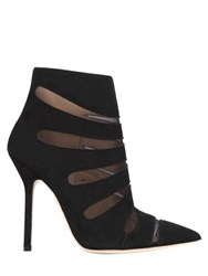 Racine Carree 110Mm Suede And Sheer Mesh Ankle Boots