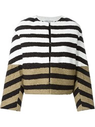 Sonia Rykiel Colour Block Striped Jacket Nude And Neutrals