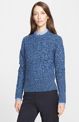 Nordstrom Signature And Caroline Issa Basket Weave Cashmere Sweater Navy Blue
