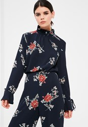 Missguided Petite Exclusive Navy Floral Print Frill Blouse