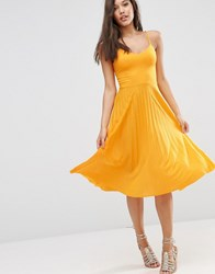 Asos Cami Midi Dress With Pleated Skirt Yellow