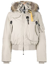Parajumpers Raccoon And Rabbit Fur Trim Puffer Jacket Nude And Neutrals