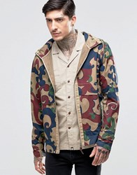 Pretty Green Hooded Jacket In Camo Print Beige Red