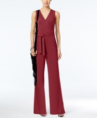 Ny Collection Petite Surplice Belted Wide Leg Jumpsuit Rhubarb
