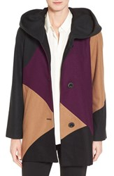 Gallery Women's 'Puzzle' Wool Blend Hooded Colorblock Coat