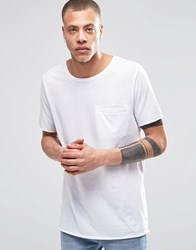 Weekday Spirit Longline Pocket T Shirt In White White 10 100