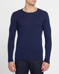 Armani Jeans Navy Aj Logo Sleeves And Back Round Neck Sweater Blue
